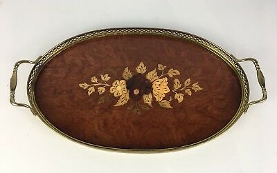 Vintage Italian Oval Inlaid Serving Tray, Marquetry