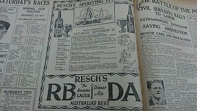 Old Reschs Sporting Calendar Rb Da beer advert original September 28 1929