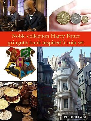 Harry Potter Noble Collection Gringotts Bank Inspired Collectable Coin Set Of 3