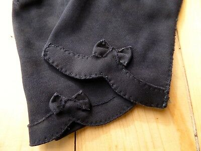 Vintage Black Womens Gloves Bow Detail - Cotton - Made in Philippines - Size 7