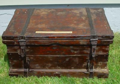 18-19th Century Tool Chest Sea Ship Sailor Hand Forged Iron Hinges Box Stanley