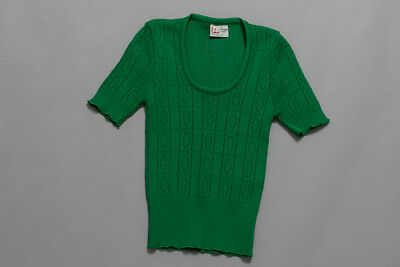 vintage 70s knitted top, Irish green, short sleeves, size 6