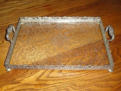 J.D Schleissner & Sohne 800 Silver and Engraved Glass Handled Serving Tray Hanau