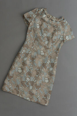 vintage 60s cocktail dress, taupe and blue floral charmeuse fabric
