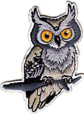 OWL ON BRANCH - Birds - Nature - Iron On Embroidered Applique