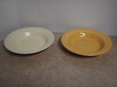 "2 Vintage Fiesta Ware Soup Bowl Yellow White Deep Plate 8 1/4"" Genuine HLO USA"