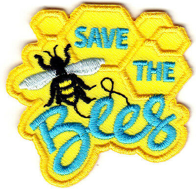 "`""SAVE THE BEES"" - HONEY BEES - CAUSE - INSECTS - Iron On Embroidered Patch"