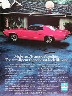 1972 PLYMOUTH SATELLITE Genuine Vintage Advertisement ~ 318 V8