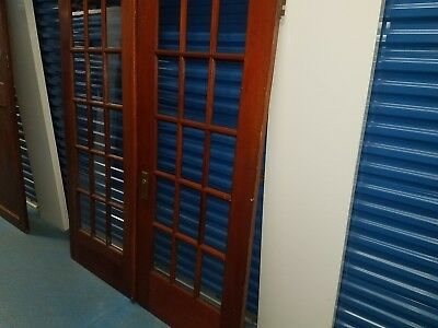 Vintage Wooden Sliding French Doors with Swinging Wooden Kitchen Door