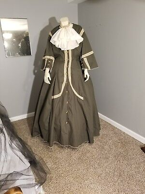 civil war colonial antebellum reenactment dress 3pc 36in