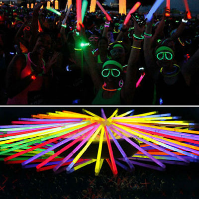 10-300pcs Glow Sticks Bracelets Necklaces Light Neon Colours Party Favors Disco