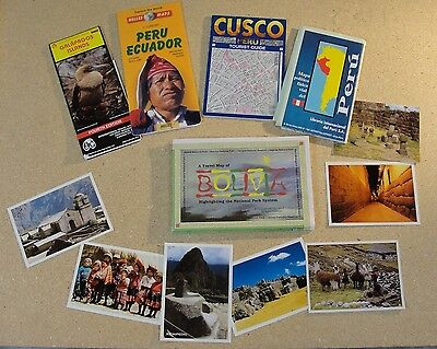 Maps of Peru, Cusco, Bolivia, Ecuador, Galapagos plus 7 postcards