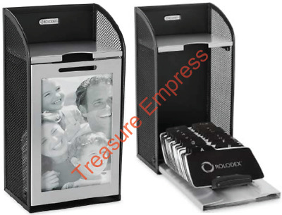 Rolodex Two-Tone Mesh Photo Frame Business Card File, 300-Card, Black and Silver