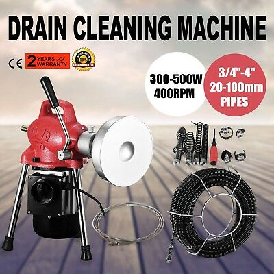 20-100mm Dia Sectional Pipe Drain Cleaner Machine W/20m*16mm & 5m*8mm Cable Hot