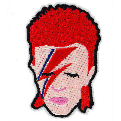 David Bowie Aladdin Sane Iron On Patch Badge Music 70s 80s Retro Ziggy Button