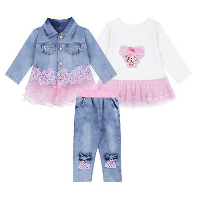 8efb09b82064 TODDLER KID BABY Girls Denim Jacket+T-shirt +Pants Jeans Outfit ...