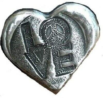 "2 Troy Oz  MK BARZ  .999 Fine ""PEACE & LOVE""  HEART SHAPE SILVER BAR"