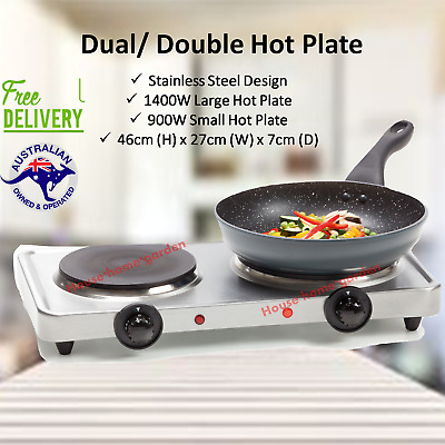 Stainless Steel Double Hot Plate Cooktop Electric Portable Cooker Hotplate Cook