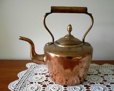 Antique Victorian Copper And Brass Kettle Large Size 30Cm Tall