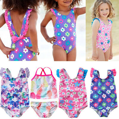 Princess Baby Girl Swimsuit Flower Swimwear Swimmable Tankini Bikini Beachwear