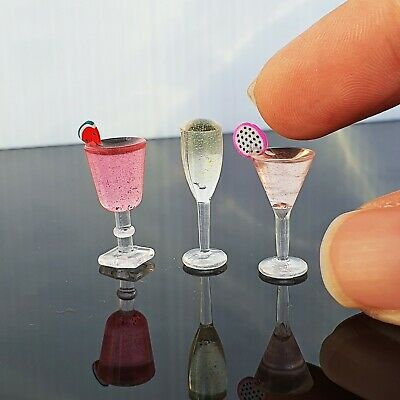 3x Mixed Cocktail Wine Champagne Dollhouse Miniatures Food Beverage Drink Supply