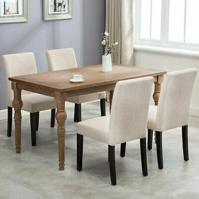 Fabric Dining Chairs Armless Room Chair Accent Solid Wood Set of 2