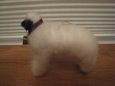 Handcrafted In Wisconsin White Wool Sheep Figurine Or Ornament W/ Bell & Ribbon