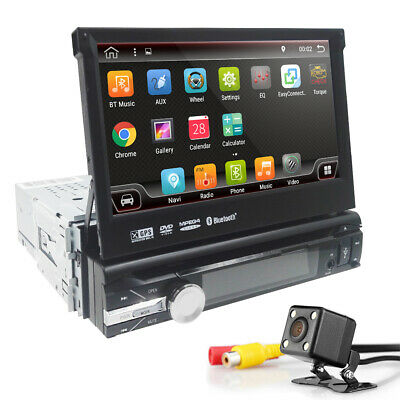 Single 1 DIN Android 7.1 Car DAB+ Player Stereo Radio Motorized GPS Sat Nav WIFI