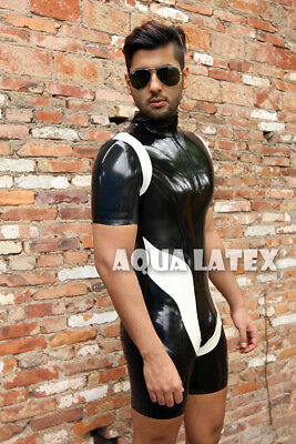 Man's Rubber Latex Body Suit with Short Sleeves and Short Legs Striped Catsuit