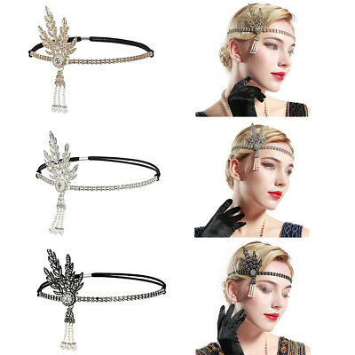 1920s Flapper Great Gatsby Headband Pearls Charleston Party Bridal Headpiece