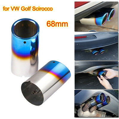 Blue Stainless Steel Exhaust Muffler Tailpipe 68mm for VW Golf MK VII Scirocco