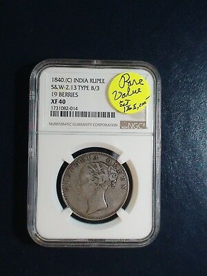 1840 (C) INDIA RUPEE NGC XF40 19 BERRIES 1R Coin PRICED TO SELL NOW!