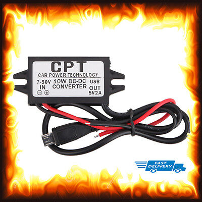 7v 50v To 5v DC 2Amp 2A 10w Converter Mobile Phone Truck Boat Car Bike Micro USB