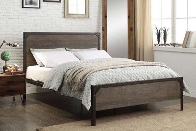 Industrial Rustic and Wood Style Metal Bed Frame with Rivet Design
