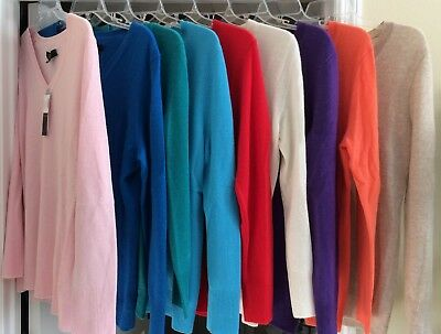 NWT Women's ALEX MARIE Pullover V-Neck 100% CASHMERE SPRING Sweater S L $79 MSRP