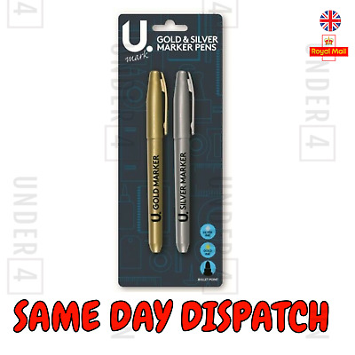 GOLD & SILVER MARKER PEN SET 2Pc HIGH QUALITY BULLET TIP Fine Point Card Craft