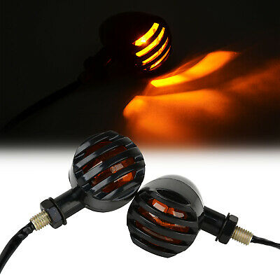 2x Motorcycle Black Grill Bullet Amber Bulb Turn Signal Light for Harley Ducati