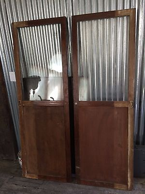 "PAIR Vintage Wood Doors 73 1/2"" ht x 25"""
