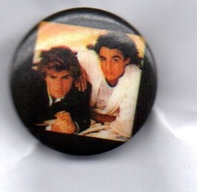 WHAM! BUTTON BADGE GEORGE MICHAEL - ANDREW RIDGELEY 80s POP BAND FANTASTIC 25mm
