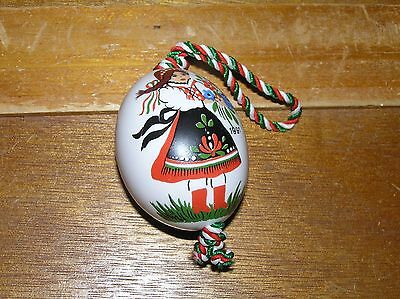 Vintage Hand Painted in Hungary Porcelain Egg Two-Sided Young & Old Woman Christ