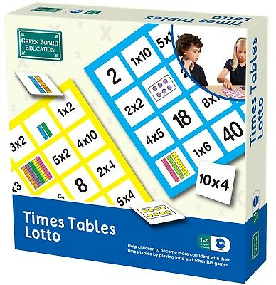 Times Tables Lotto Educational Matching Game - Green Board Games