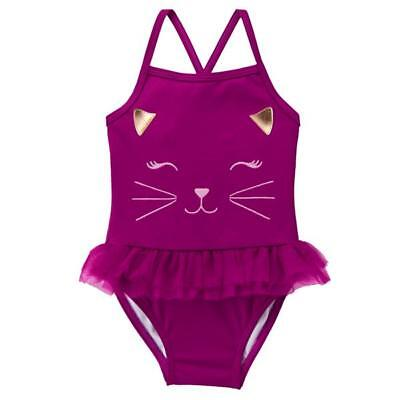 Gymboree Girl Swim 1-Piece Cat Tutu Swimsuit 6 12 18 24 2T UPF 50+