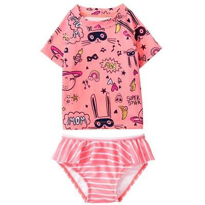 Gymboree Girl Swim 2-Piece Rashguard Swimsuit 18 24 2T 3T 4T 5T NWT UPF 50+