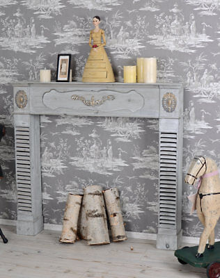 Wood Burning Fireplace Shabby Chic Console Surround Antique Style