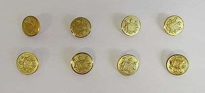 "* Vintage * 8 Bright Brass Sword & Shield Flat Buttons * 5/8"" (16 mm) Diameter *"
