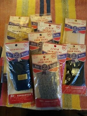 Vtg Deadstock 50s 60s BOYS Socks sz 8 9 10 11 10 pr LOT
