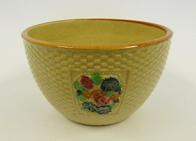 * Vintage * Ceramic Waffle Bowl With Colorful Flowers * Hand Crafted In Japan *