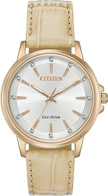Citizen FE7033-08A Women's Eco-Drive Chandler Rose Gold Tone Leather Band Watch