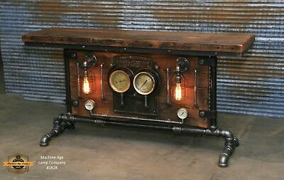 Steampunk Industrial Machine Age Steam Gauge Frick Table Stand Bar Console Lamp