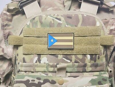 PUERTO RICO Flag PVC Subdued Camo Military Morale Tactical Patch Rican